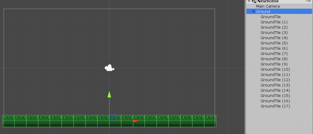 Unity ground object with 18 ground tile sprites