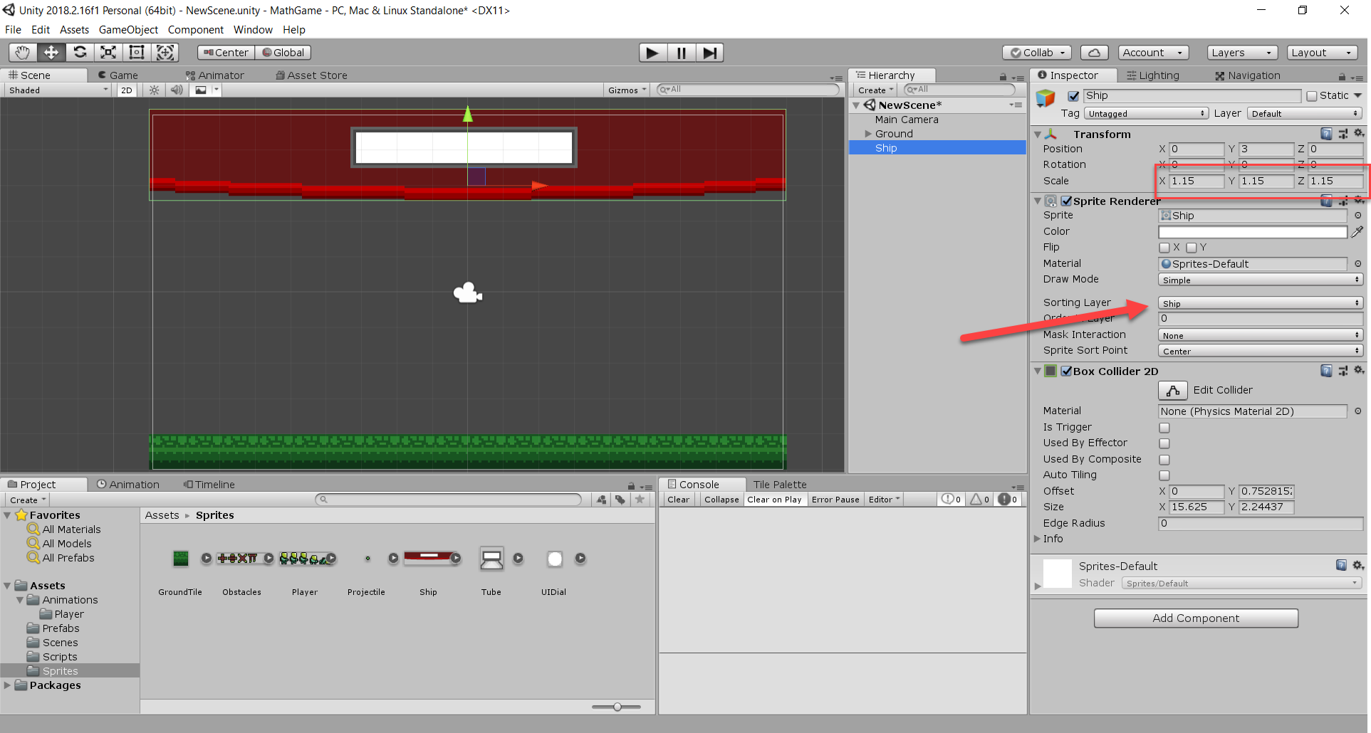 Ship object on top of Unity Scene view