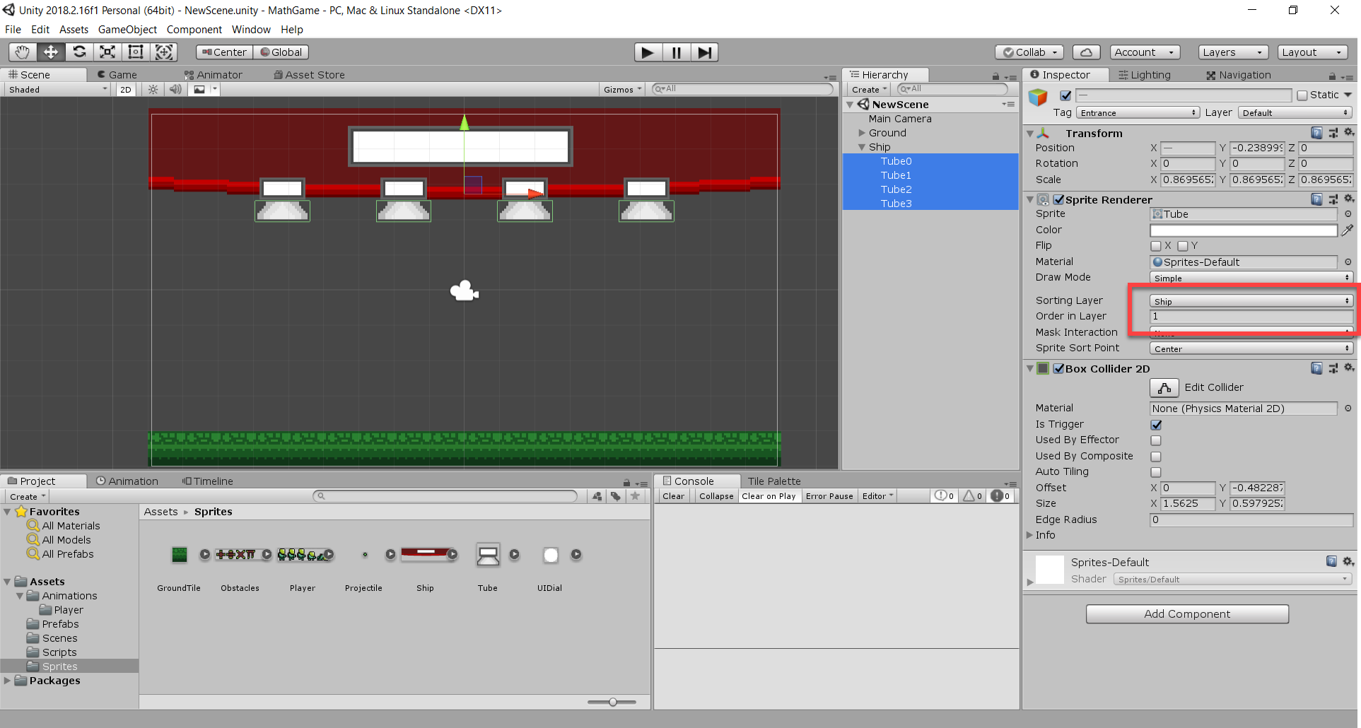 Tube objects added to Unity math game
