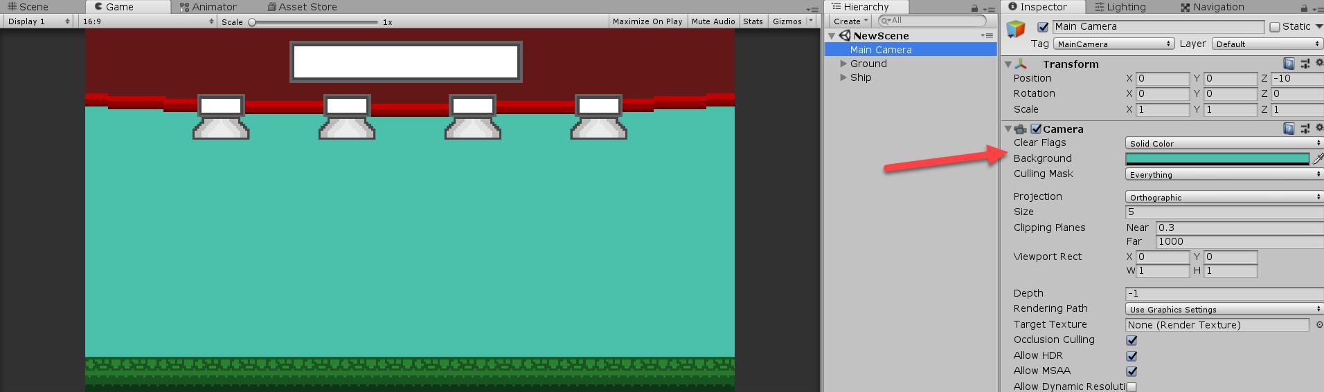 Unity Main Camera background adjusted to aqua