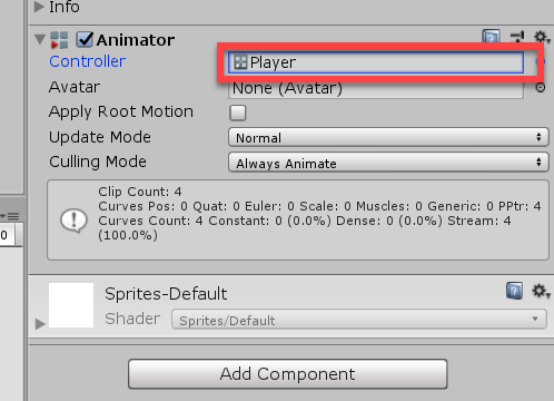 Animator component in Unity with Player added as Controller