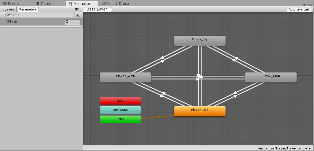 Player Animator states within Unity Animator window
