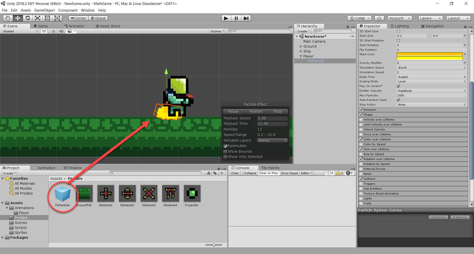 Jetpack particles added to Player object in Unity