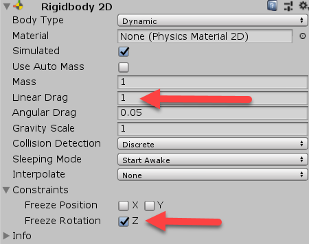Player Rigidbody 2D component within Unity
