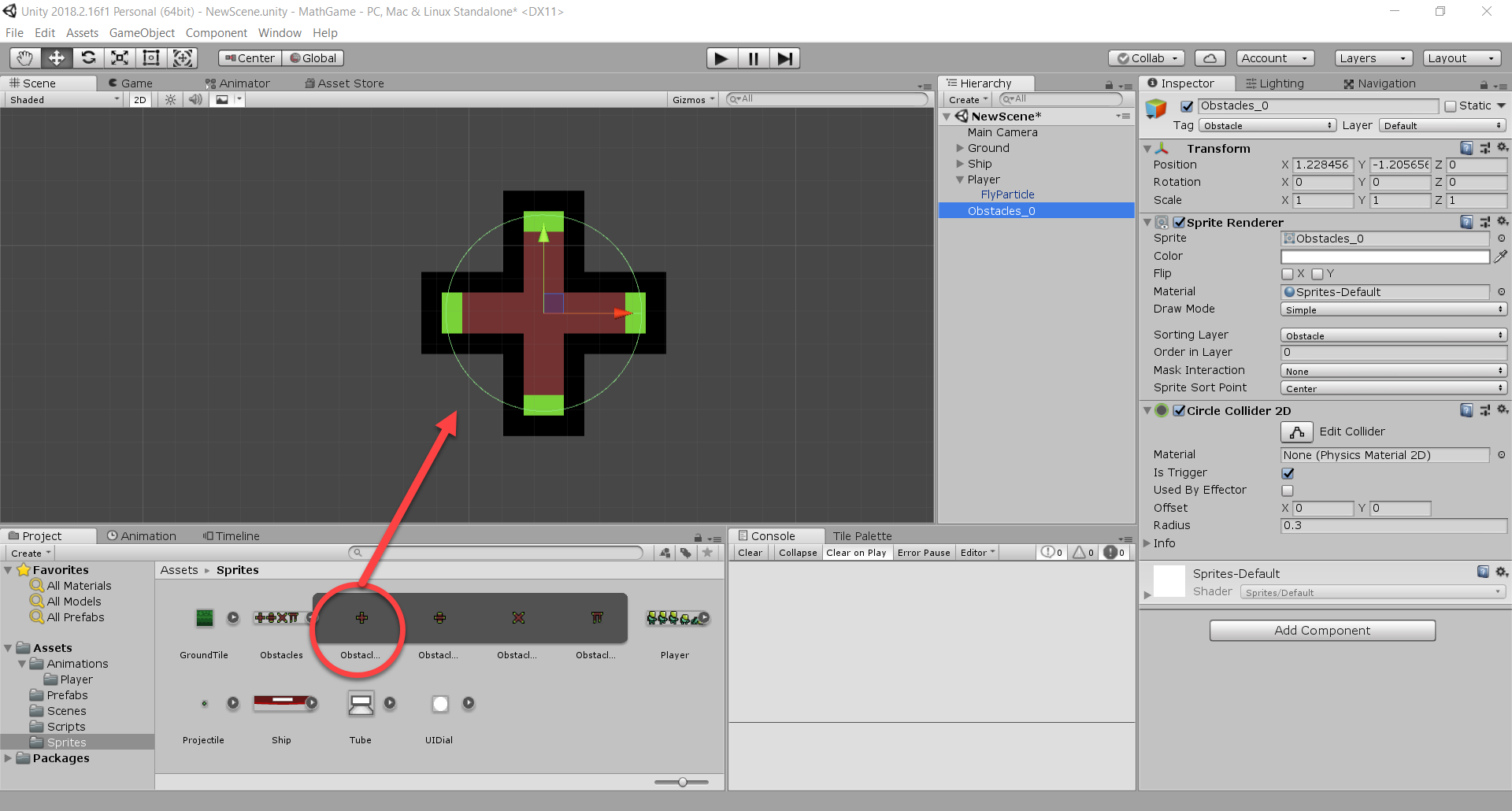 Obstacle sprite with Circle Collider in Unity