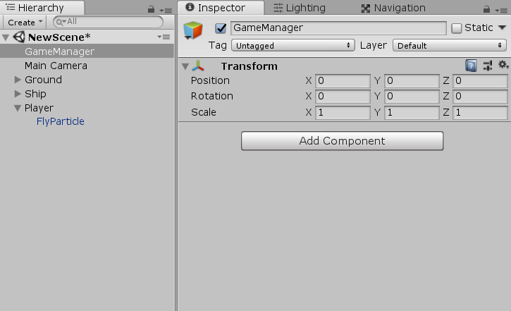 GameManger object added to Unity