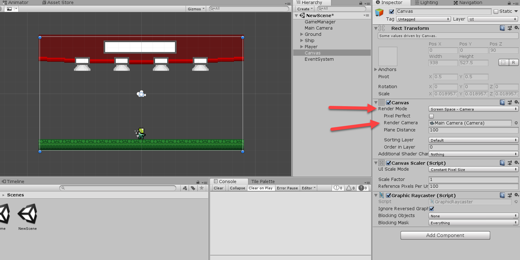 Unity UI Canvas object in the Inspector