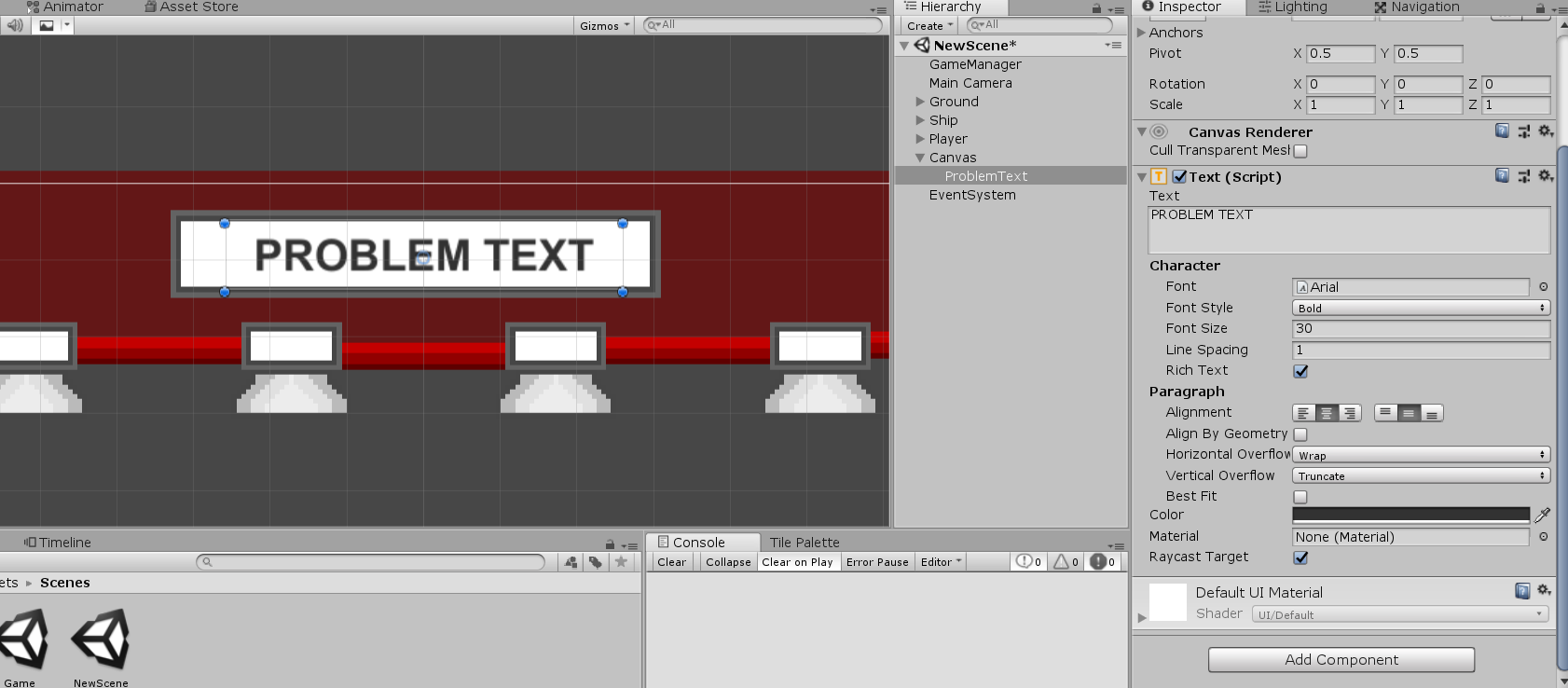 Text object labeled 'Problem Text' added to Unity math game