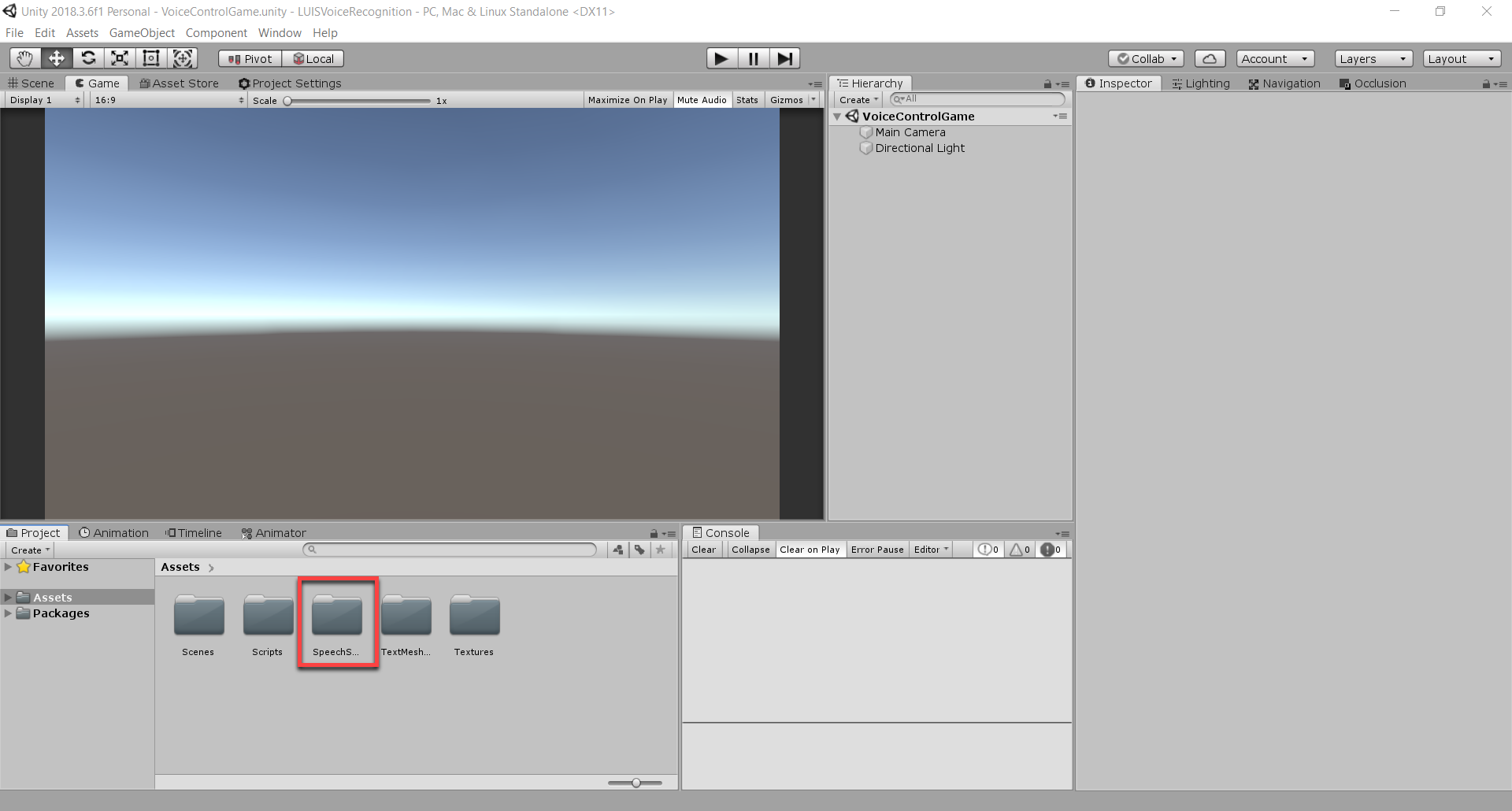 New Unity project with Speech SDK folder highlighted