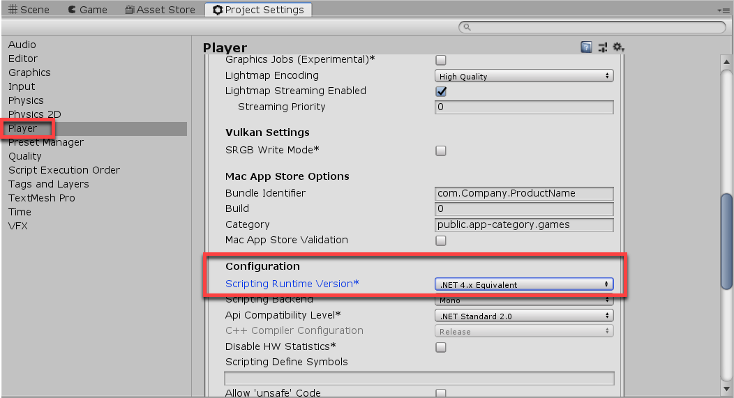 Project Settings in Unity with Player Configuration adjusted