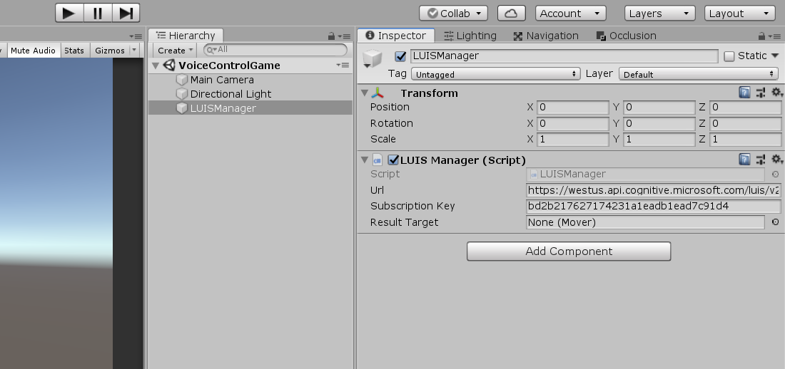LUISManager object in the Unity Inspector