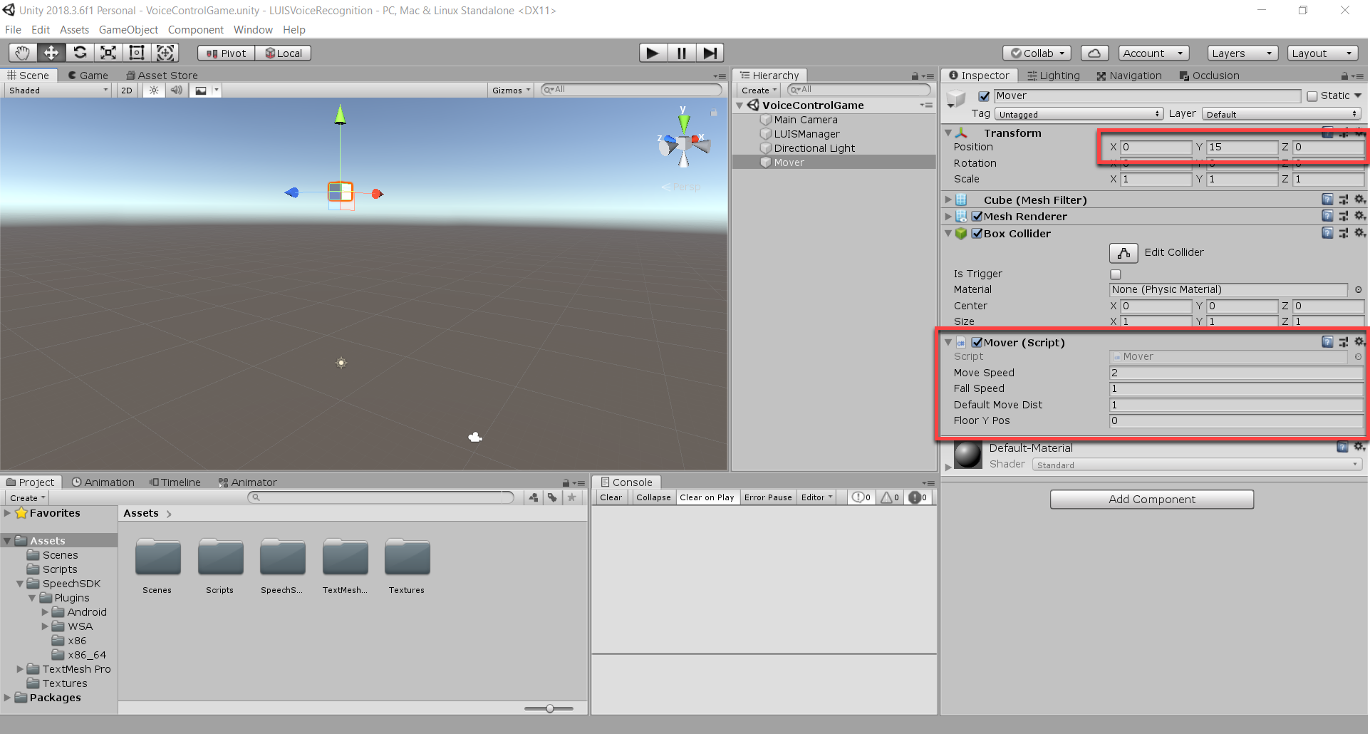 Script added to Rover object in Unity