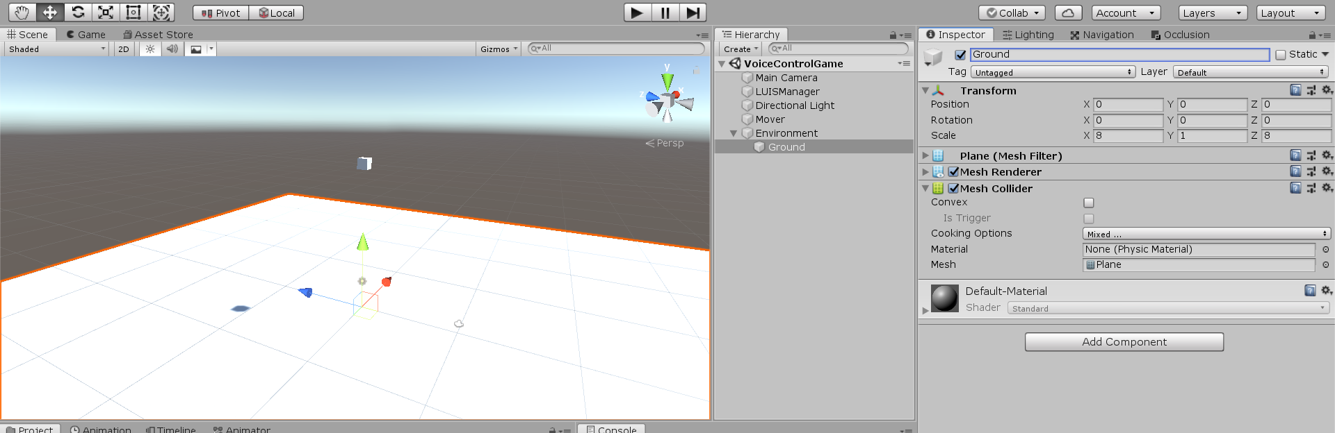 White plane created within Unity project