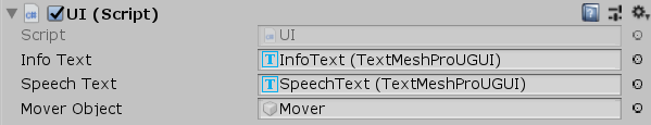 Unity UI Script component from the Unity Inspector