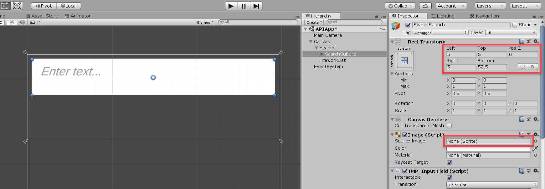 Unity input object settings