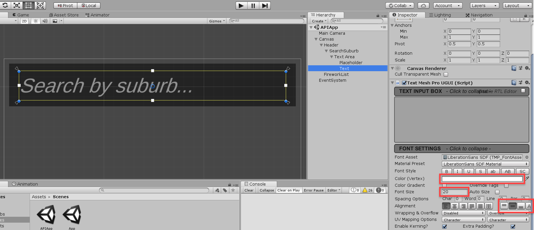 Unity text object settings for fireworks app