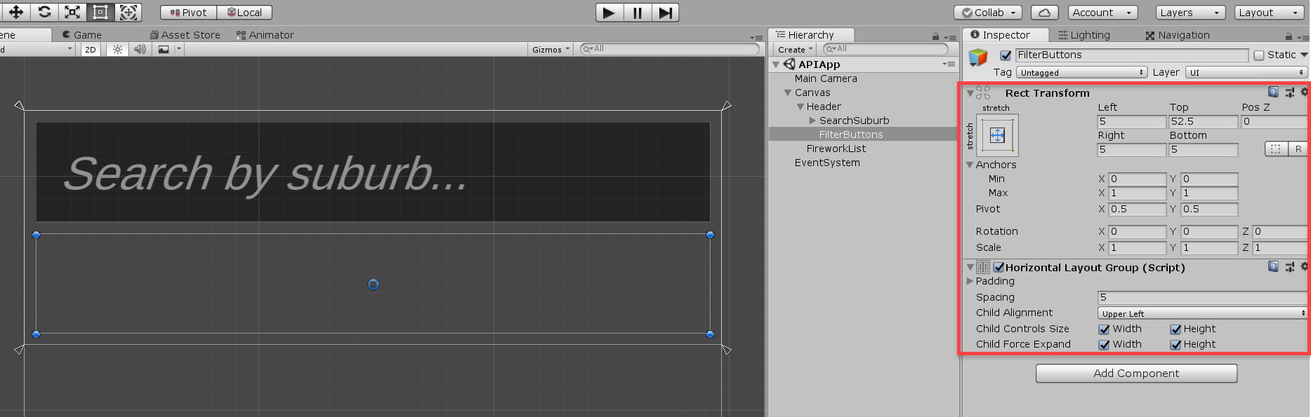 Unity text component with Horizontal Layout Group added