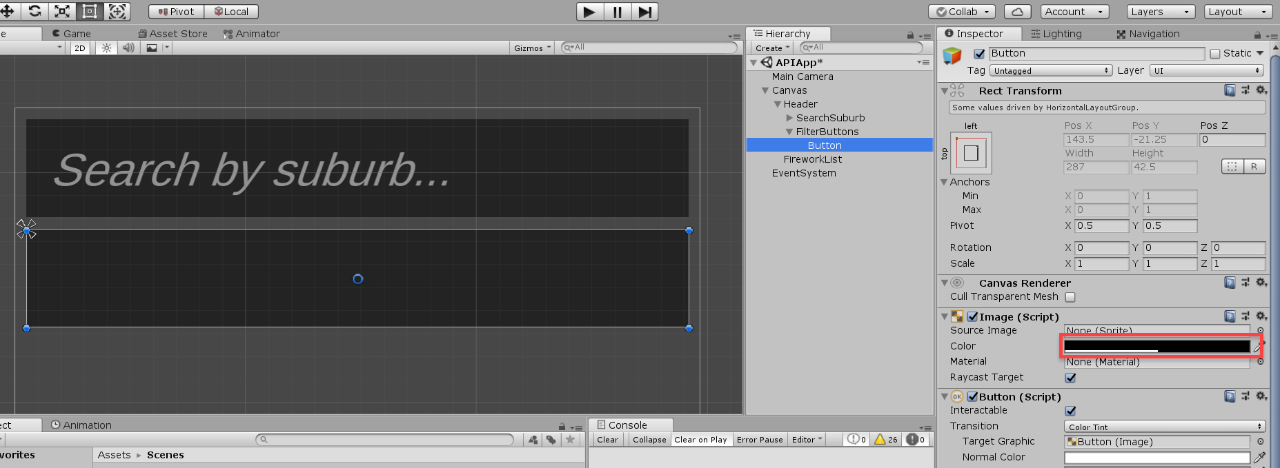 Unity Button component settings