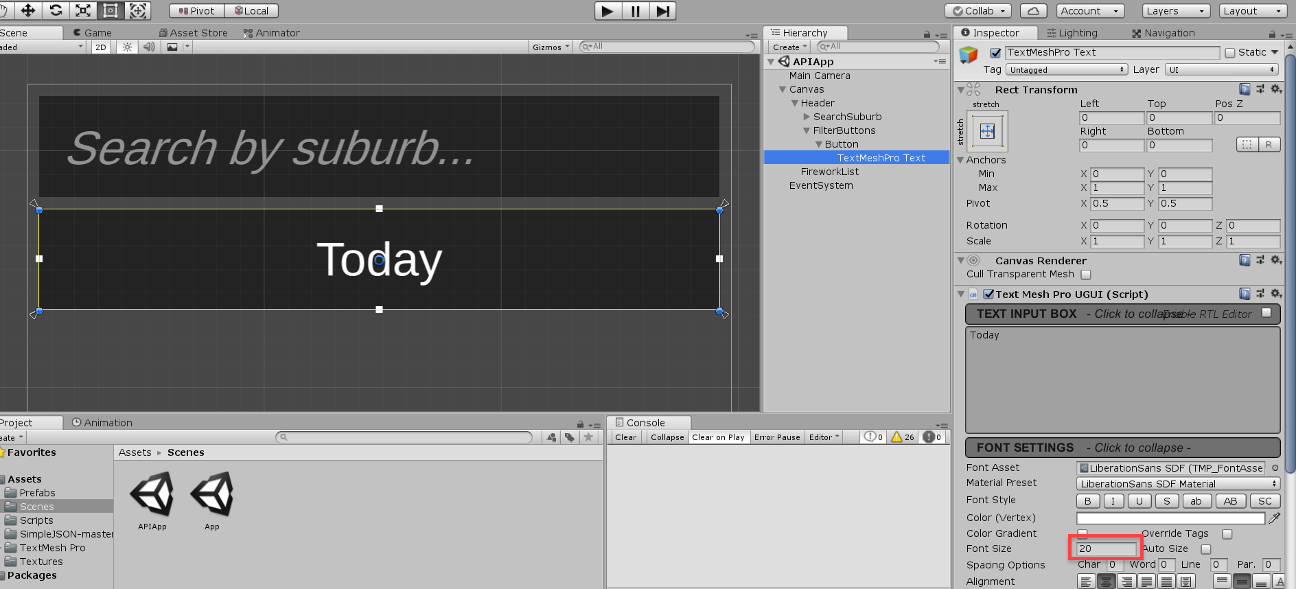 Unity text object with Today written