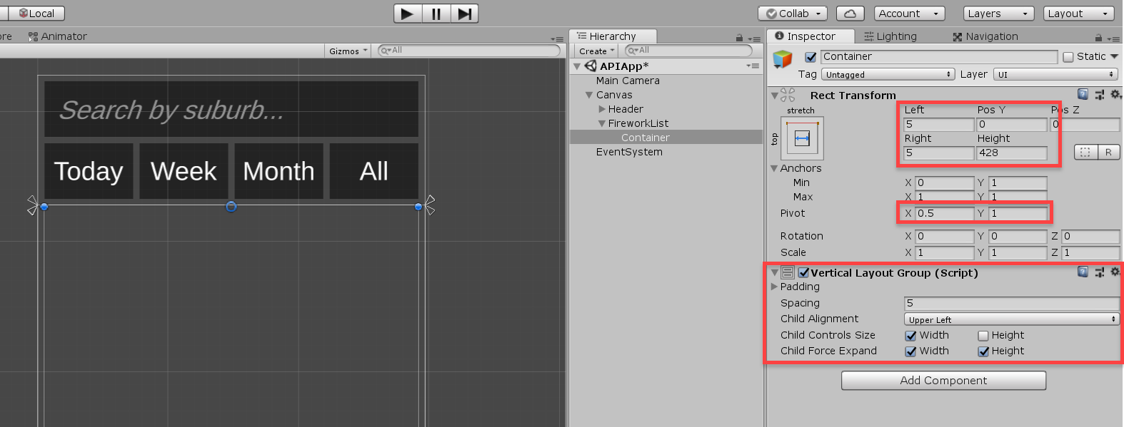 Vertical Layout Group and Transform Components in Unity