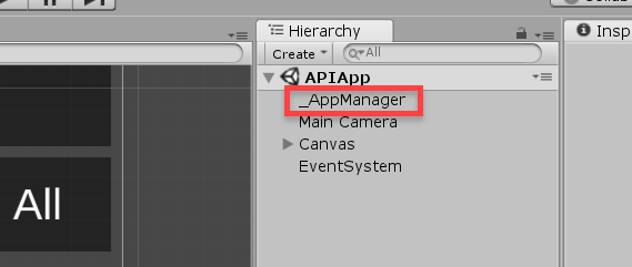 AppManager object in the Unity Hierarchy