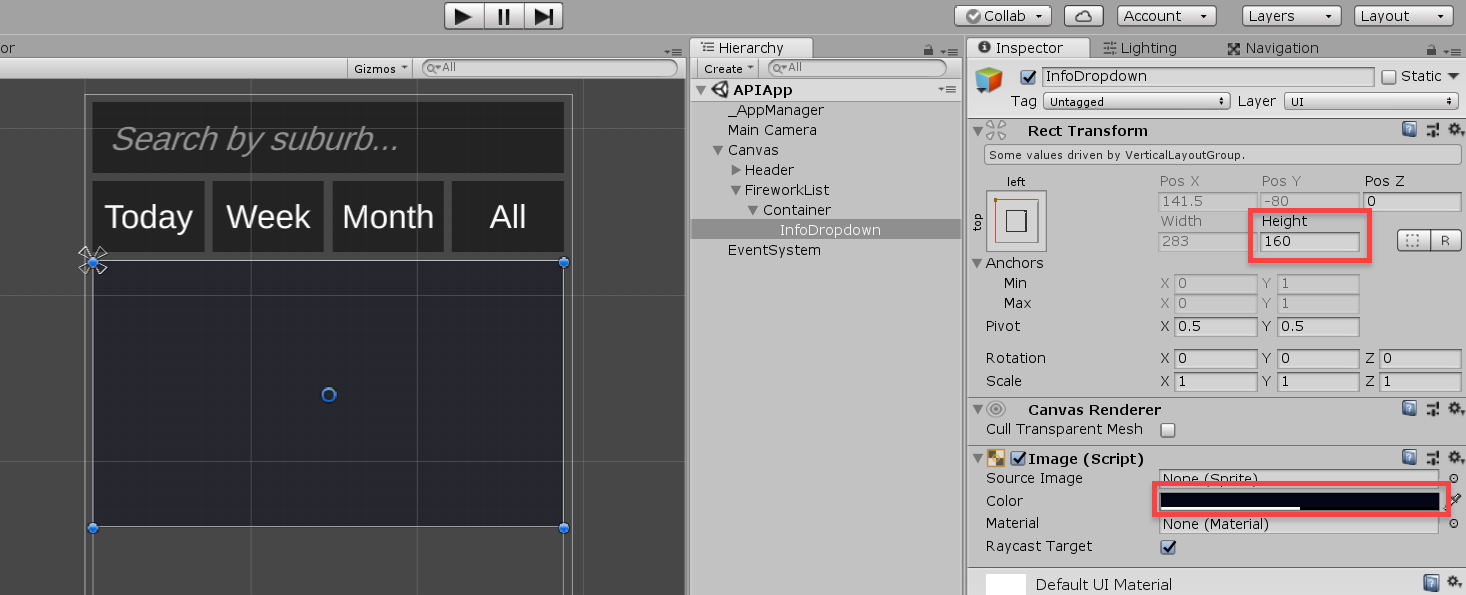 Unity UI Panel object for Firework Display app