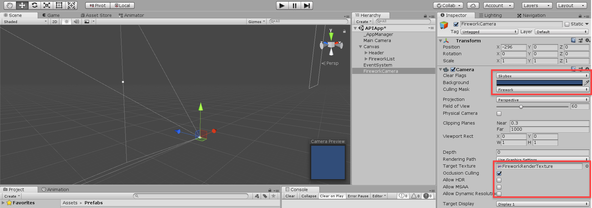 Unity Camera options with setting adjusted