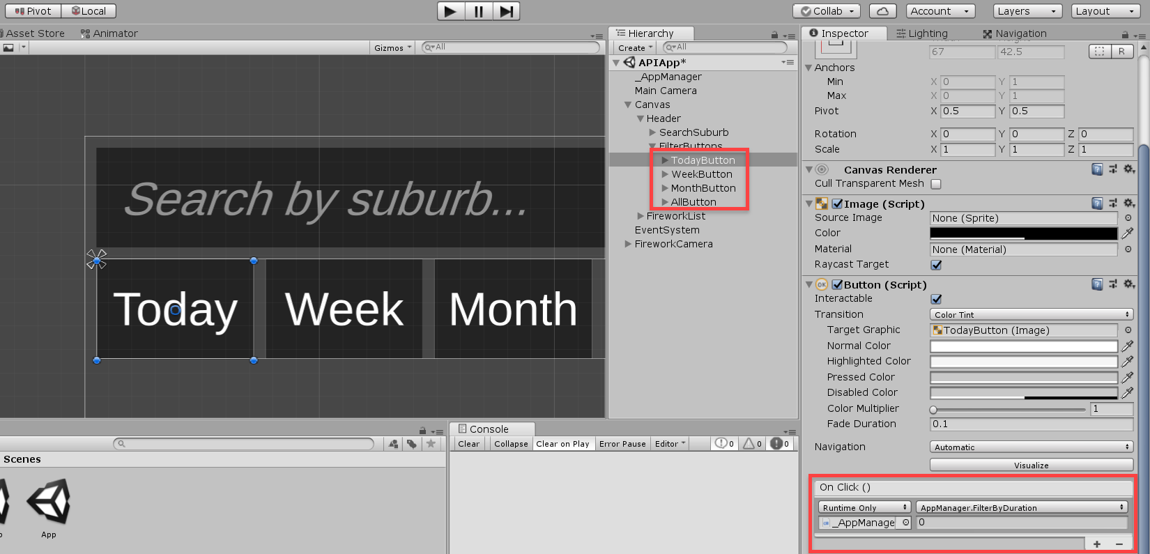 Highlighting of the On Click options for Unity buttons