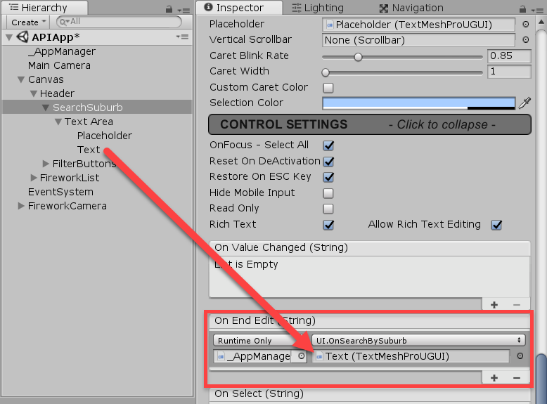 SearchSuburb object added to On End Edit function in Unity