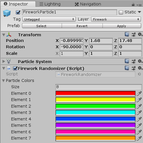 Firework Randomizer Script component in Unity