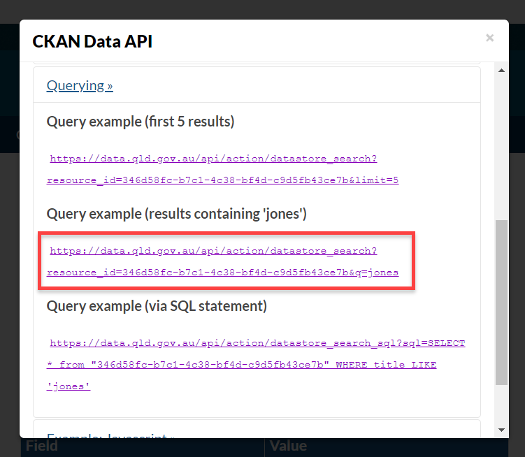 CKAN Data API Query examples strings