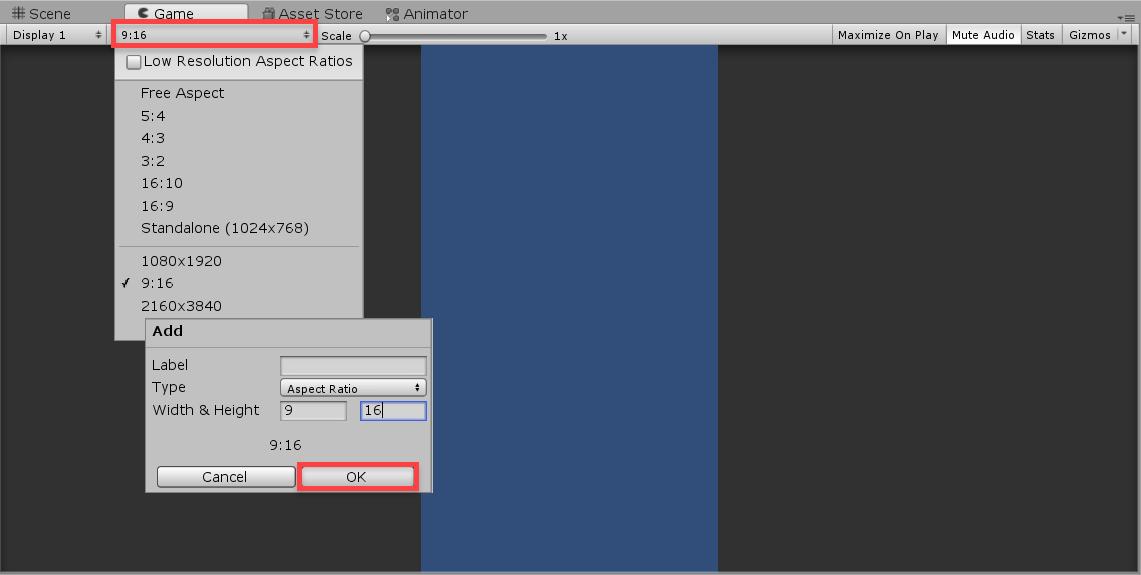 Unity Game screen aspect ratio options