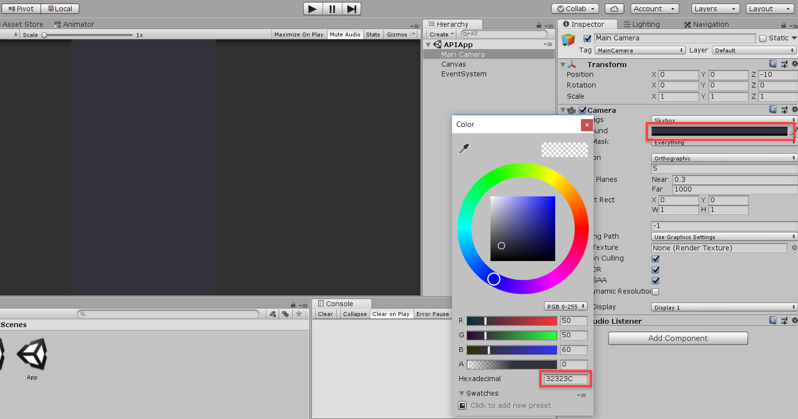Unity color wheel with blue chosen