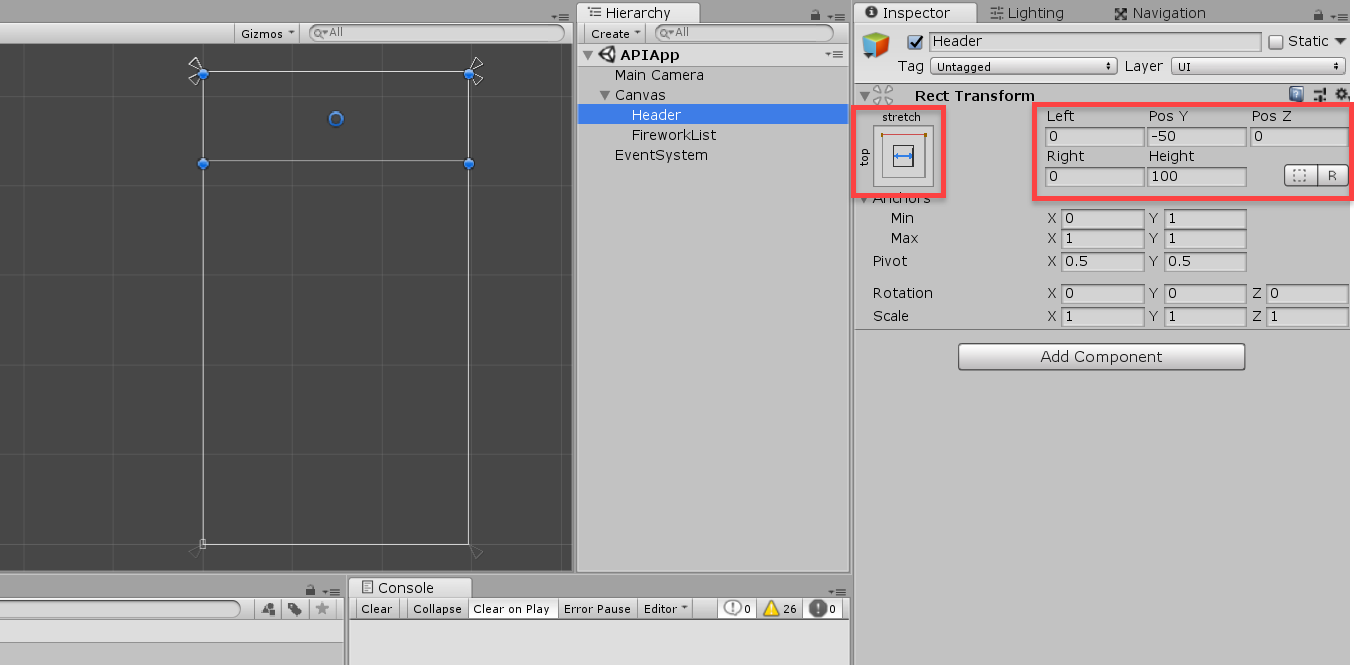 Unity Transform Component for Header
