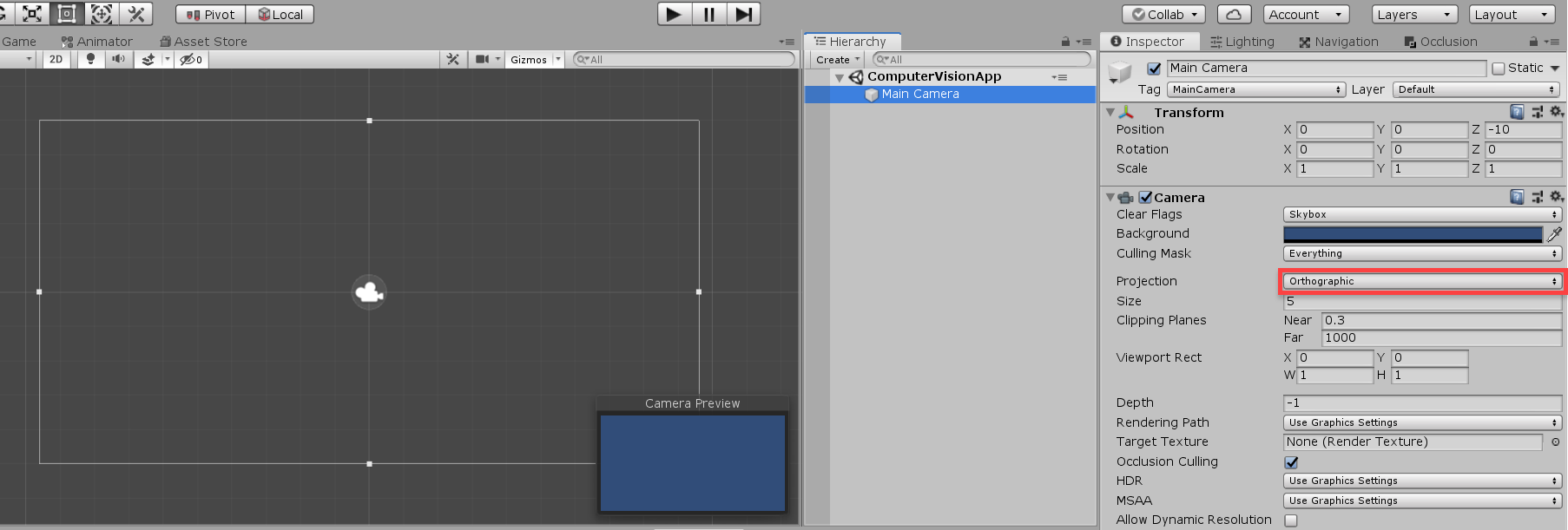 Unity Main Camera in the Inspector window