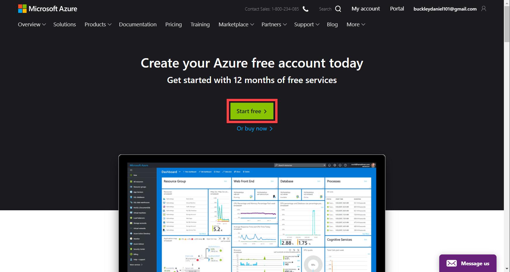 Microsoft Azure homepage