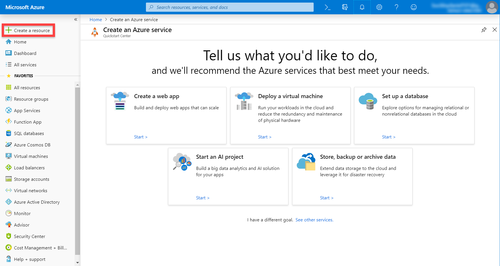 Microsoft Azure dashboard for creating a service
