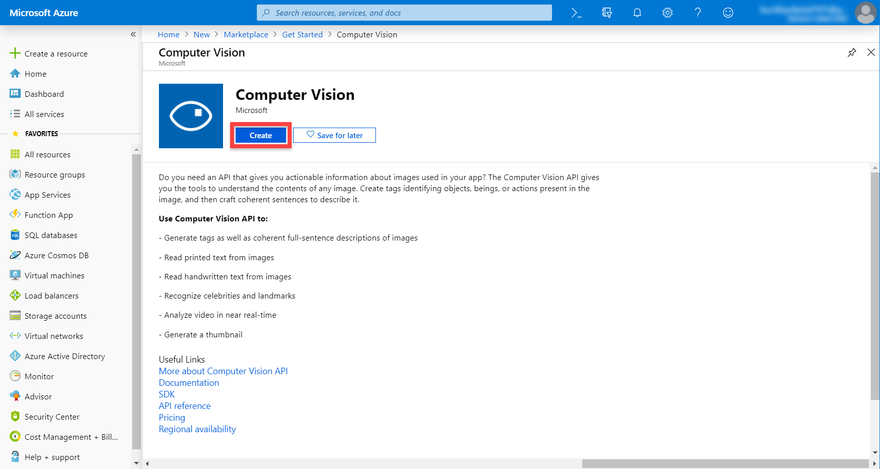 Microsoft Azure service page for Computer Vision