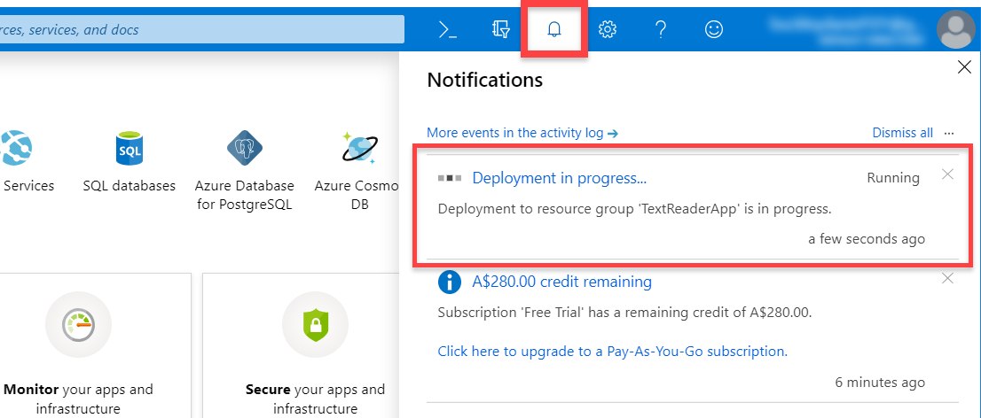 Deployment in progress message for Microsoft Azure service