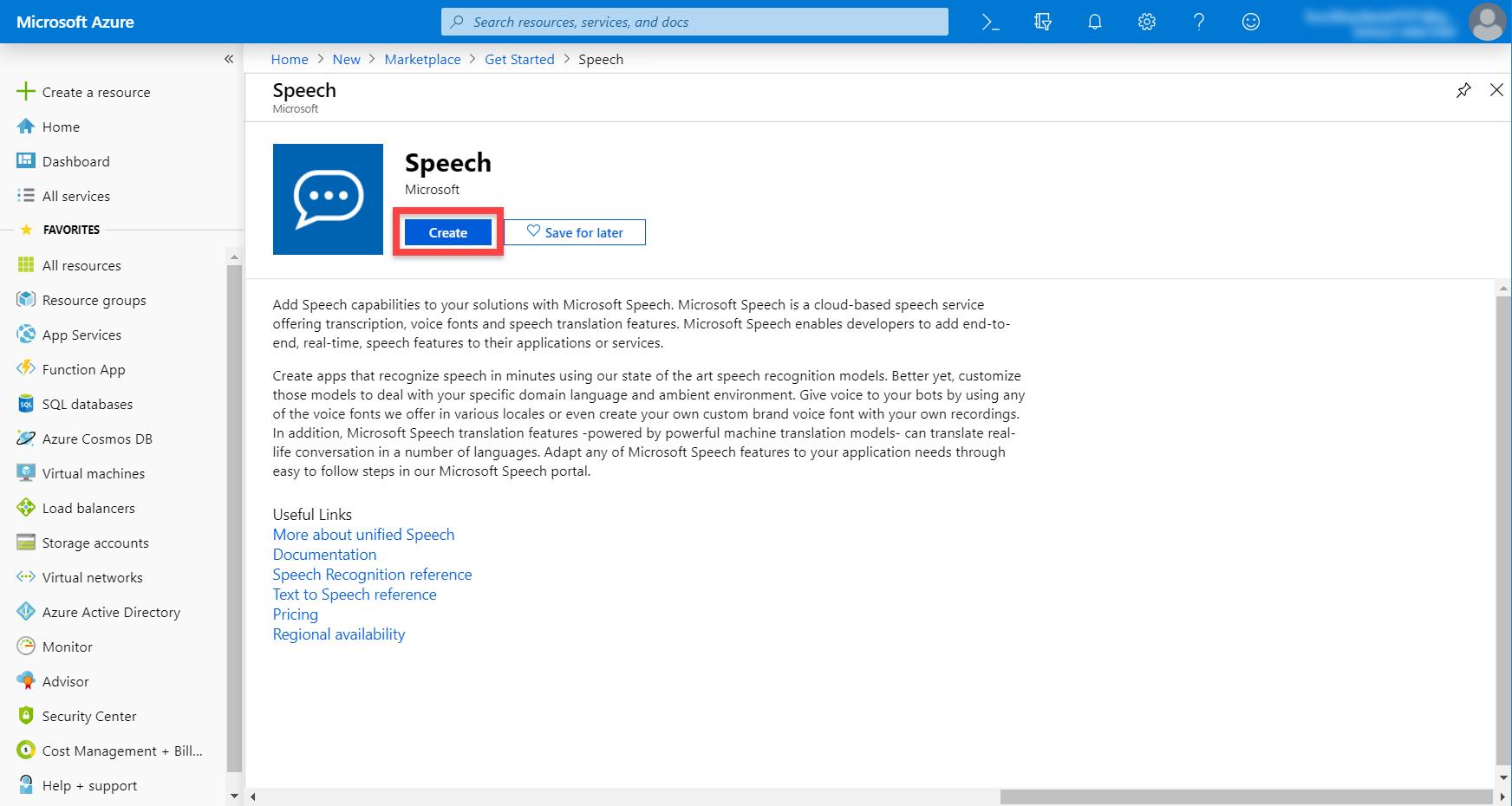 Microsoft Azure Speech service page