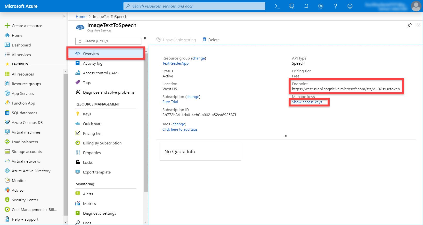 Microsoft Azure ImageTextToSpeech service page