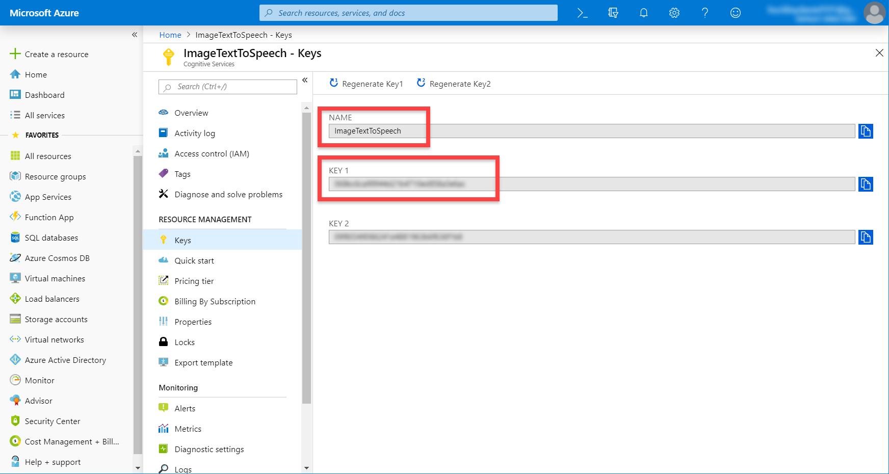 Microsoft Azure ImageTextToSpeech keys