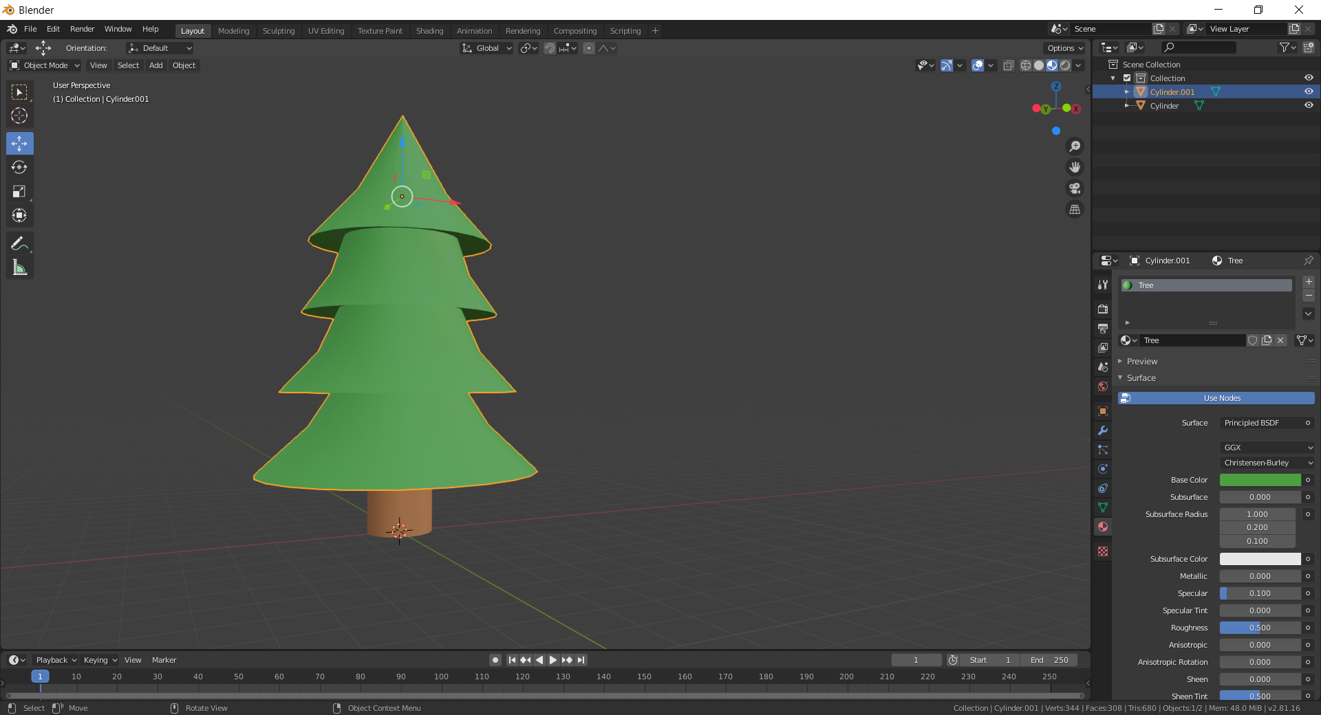Creating a tree in blender.