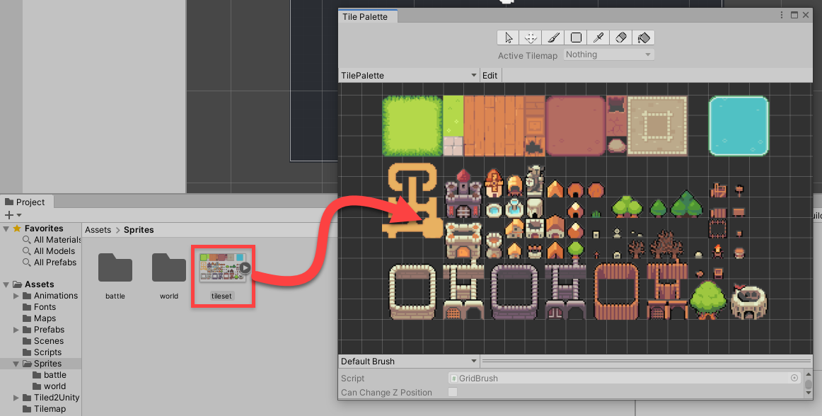 Creating the the tiles by dragging the sprite sheet into the Tile Palette window.