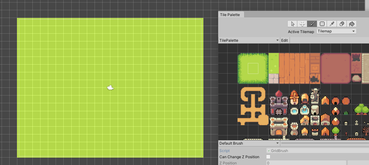 Painting the screen with grass in the tilemap.