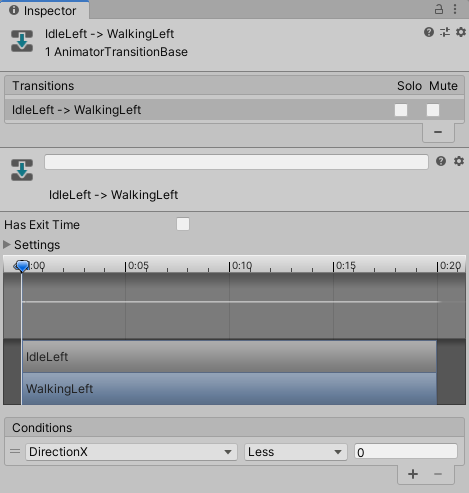 Animator transition between the IdleLeft and WalkingLeft animation.