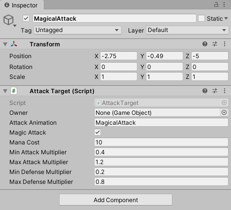 Magical attack prefab with the attack target values.