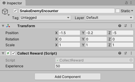 Snake enemy encounter prefab with a collect reward script.