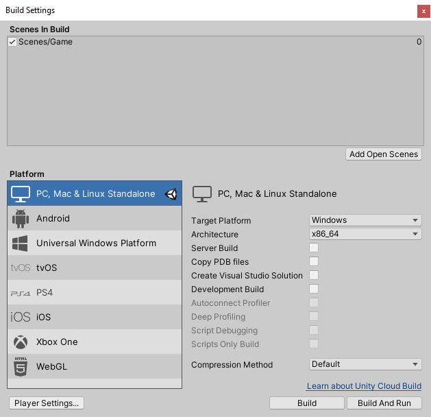 Unity build settings.