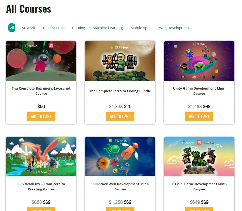 Course Variety - Zenva